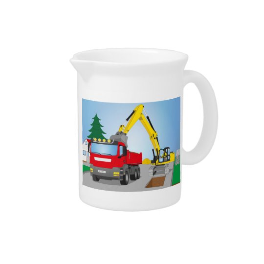 Road site with red truck and yellow excavator pitchers