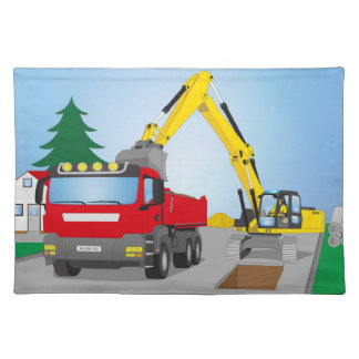 Road site with red truck and yellow excavator placemat