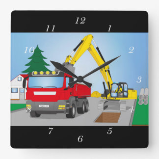 Road site with red truck and yellow excavator square wall clock