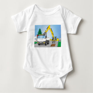 Road site with white truck and yellow excavator baby bodysuit