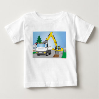 Road site with white truck and yellow excavator baby T-Shirt