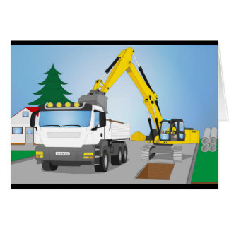Road site with white truck and yellow excavator card
