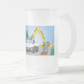 Road site with white truck and yellow excavator frosted glass beer mug