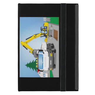 Road site with white truck and yellow excavator iPad mini case