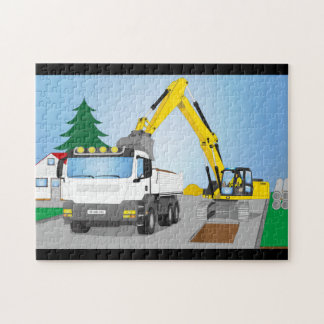 Road site with white truck and yellow excavator jigsaw puzzle