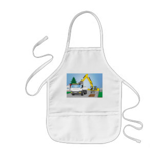 Road site with white truck and yellow excavator kids apron