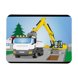 Road site with white truck and yellow excavator magnet