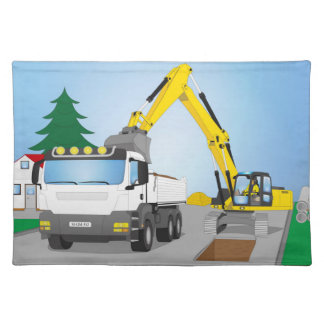 Road site with white truck and yellow excavator placemat