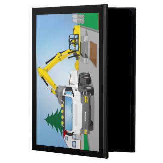 Road site with white truck and yellow excavator powis iPad air 2 case