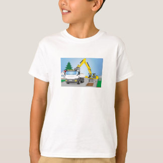 Road site with white truck and yellow excavator T-Shirt