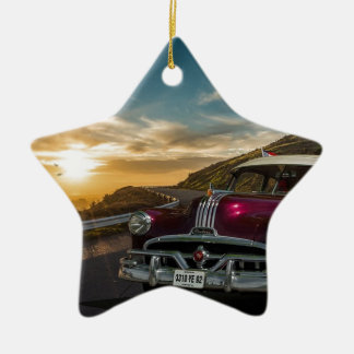 Road Sunset Mountain Old Car American Car Christmas Ornament