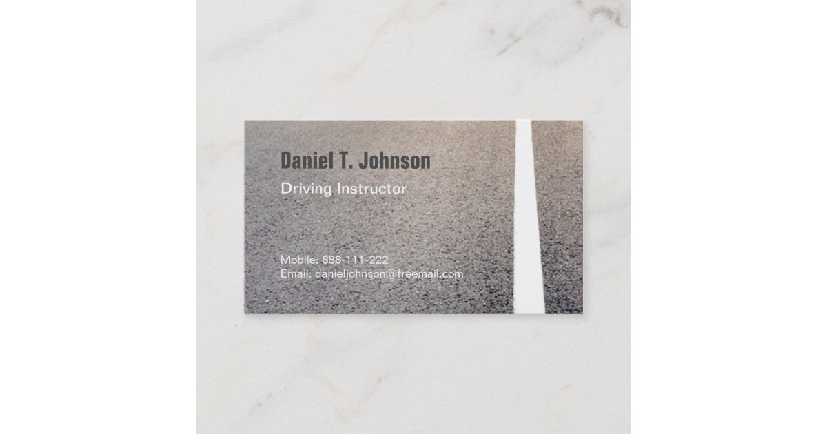 Road Texture Driving Instructor Business Cards | Zazzle.co.uk
