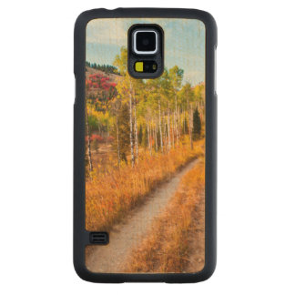 Road Through Autumn Colors Carved Maple Galaxy S5 Case