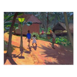 Road to Kovalum Beach Kerala 1996 Postcard