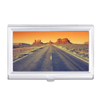 Road To Monument Valley At Sunset Business Card Holder