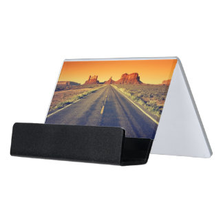 Road To Monument Valley At Sunset Desk Business Card Holder