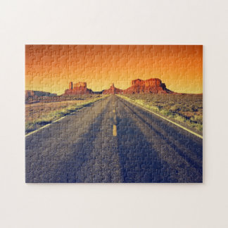 Road To Monument Valley At Sunset Puzzle
