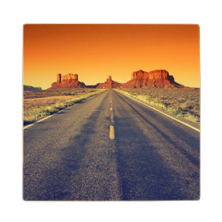 Road To Monument Valley At Sunset Wood Coaster