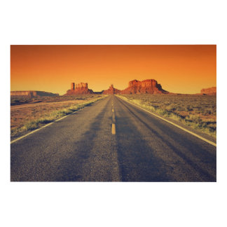Road To Monument Valley At Sunset Wood Wall Art
