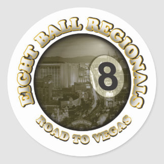 Road To Vegas Classic Round Sticker
