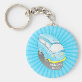 Road Trip Blue Van Basic Round Button Key Ring
