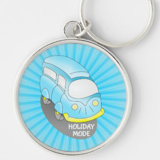 Road Trip Blue Van Silver-Colored Round Keychain