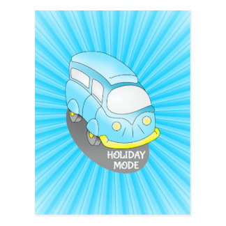 Road Trip Blue Van Postcard