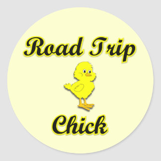 Road Trip Chick Classic Round Sticker