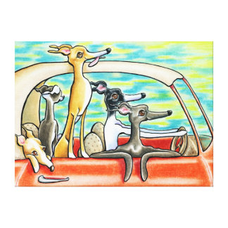 Road Trip   Italian Greyhounds Gallery Wrapped Canvas