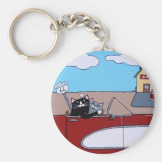 road trip basic round button key ring