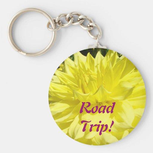 Road Trip! keychain Yellow Dahlia Flowers