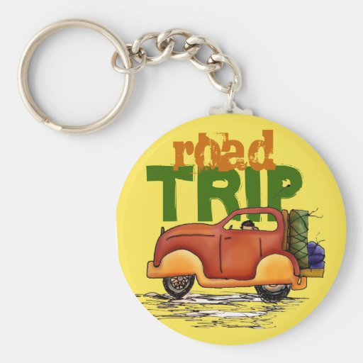 Road Trip Red Vehicle Yellow Sky Key Chain Ring