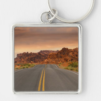 Road trip sunset Silver-Colored square key ring