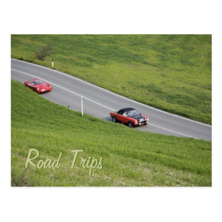Road trips - sport cars postcard