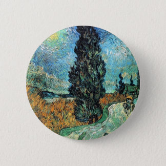 Road with Cypress and Star 6 Cm Round Badge