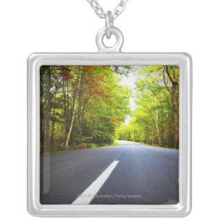 Road with Trees in Acadia National Park Silver Plated Necklace