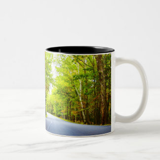 Road with Trees in Acadia National Park Two-Tone Coffee Mug