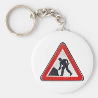 Road works sign for construction works in street key chain