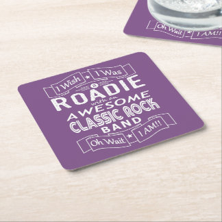 ROADIE awesome classic rock band (wht) Square Paper Coaster