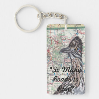 Roadrunner on New Mexico Roadmap Keychain