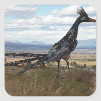 Roadrunner statue square sticker