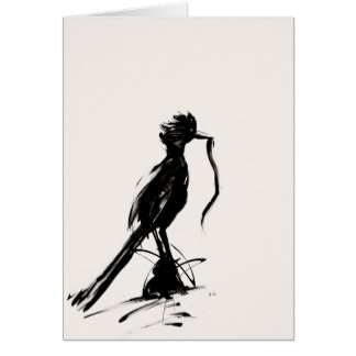 Roadrunner with snake greeting card