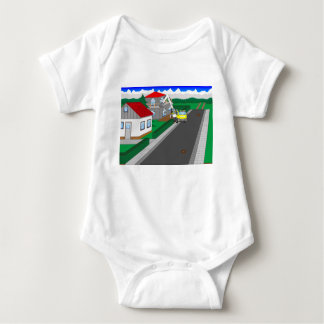 Roads and building of houses baby bodysuit
