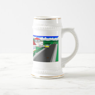 Roads and building of houses beer stein