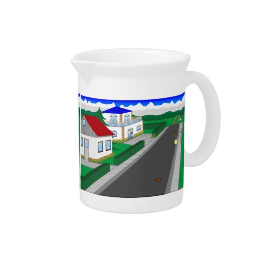Roads and building of houses drink pitcher