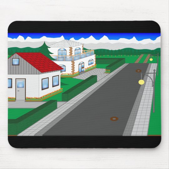 Roads and building of houses mouse mat