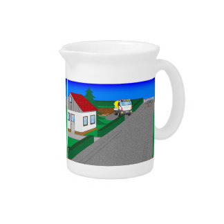 Roads and building of houses pitcher