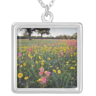 Roadside wildflowers in Texas, spring 3 Square Pendant Necklace