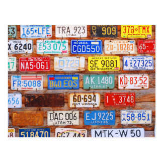 Roadtrip License Plate Postcard
