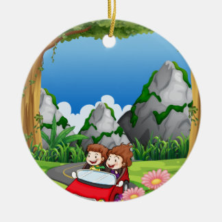 RoadtripPeople riding along the green forest Round Ceramic Decoration